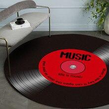 Многоцветный модный ретро музыкальный CD напечатанный Мягкий тканевый круглый напольный коврик, ковер для комнаты, спальни, ковер для гостиной#23/5