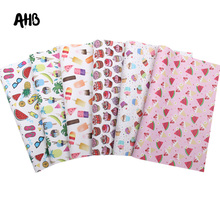 AHB Cute Cake Synthetic Leather Sheets Faux Leather For Bows Watermelon Printed Vinyl DIY Hairbows Handmade Crafts Materials цена и фото