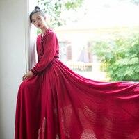 MM191 Nouveautés Automne 2017 rouge foncé vintage Style Chinois grand fond à manches longues maxi coton et lin robe