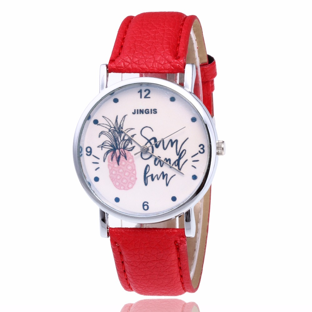 New Hot 8 Colors Hour Causal Watches For Womens Summer Pineapple Print Leather Alloy Quartz Wrist Watch Clock Montre Femme