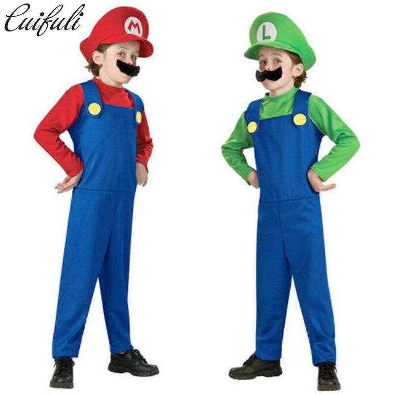 Cuifuli Halloween Costumes Funny Super Mario Luigi Brother Costume Kids Children Boys Girls Fantasia Cosplay Jumpsuit