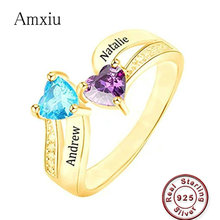 41aa22b654 Amxiu Custom 925 Silver Wedding Rings Engrave Two Names with Heart  Birthstones Rings For Women Lovers