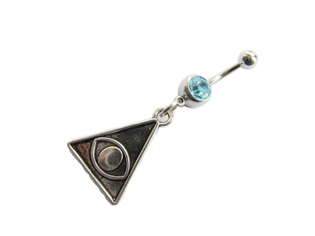 Us 5 99 2pcs Third Eye Belly Button Ring Navel Piercing Friendship Belly Rings Dangle Belly Ring Triangle Belly Button Piercing On