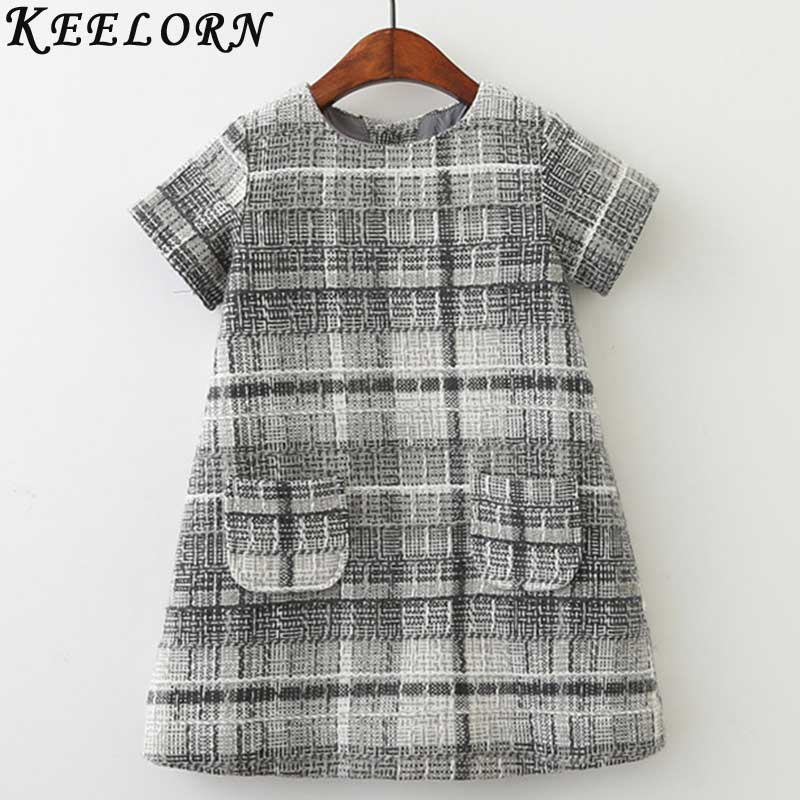 Keelorn Girls Wool Dress Autumn 2017 Brand Princess Dress with Pocket Plaid Kids Dresses for Girls Clothes Baby Christmas Dress keelorn girls dress 2017 brand princess dresses kids clothes sleeveless banana leaf pattern print design for girls clothes