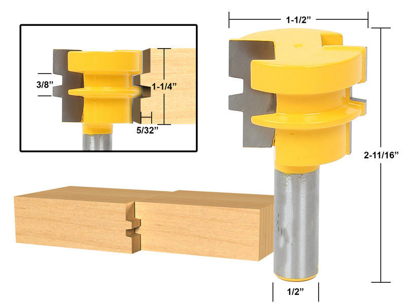 high quality Glue Joint Router Bit - Medium Reversible 1/2 Shank wood milling router /cnc router bits/milling tool high grade carbide alloy 1 2 shank 2 1 4 dia bottom cleaning router bit woodworking milling cutter for mdf wood 55mm mayitr