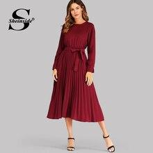 Pleated Elegant Long Sleeve Women Dresses