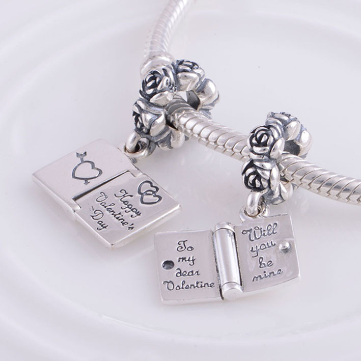 fits pandora charms bracelet necklace solid 925 sterling silver happy valentines day book charm pendant diy jewelry making in charms from jewelry