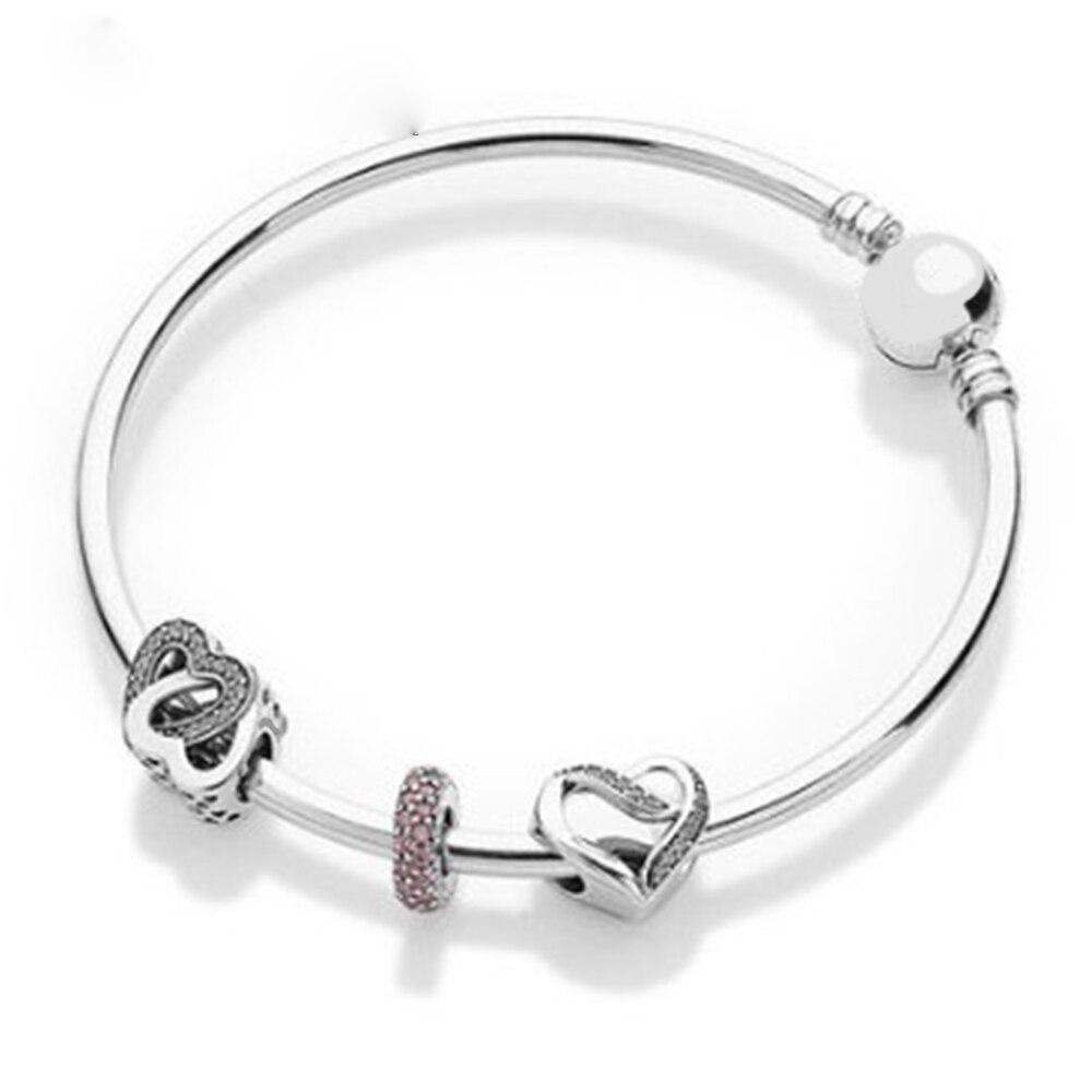 Nouveau 925 produits en argent style européen-américain simple coeur accessoires avec bracelet bracelet à bricoler soi-même cadeau amoureux