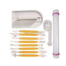 Cake DIY Tools Set with 1 Lace Round Knife 1 Rolling Pin 1 Cake Smoother &   8 Carving Knives Cake Fondant Decorating Tools
