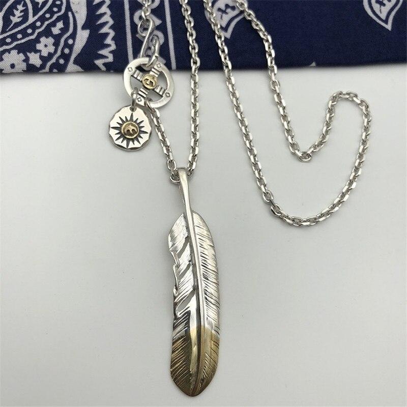 Style indien fait à la main en argent Sterling 925 plume pendentif collier hommes femmes Thai argent bijoux longue chaîne collier hommes bijoux - 5