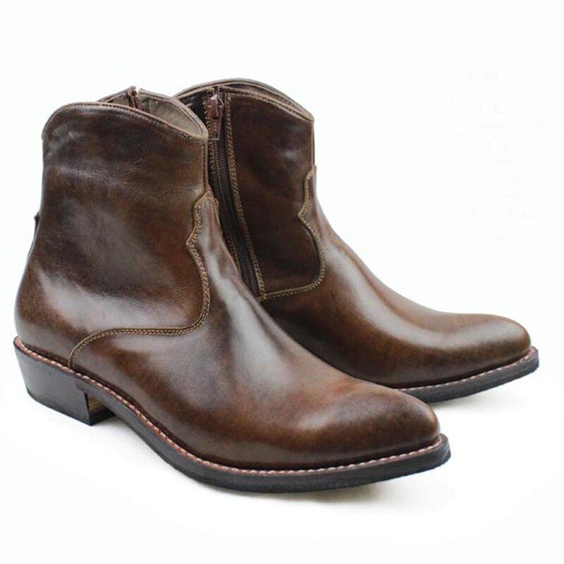 Bottes faites à la main occidentales hommes en cuir de vachette marron bottes en cuir véritable hommes Botas de cheville Militares bottes de moto hommes couture, EU38-45