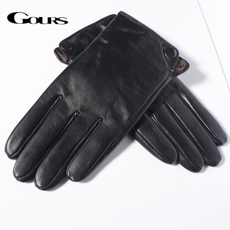 Gours Mäns äkta läderhandskar Mode varumärke Real Sheepskin Black - Kläder tillbehör - Foto 3