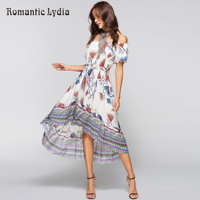 281f9dae7752 Women Summer Off Shoulder Bohemian Dress Boho Wrap Dresses Casual Loose  Beach Floral Print Midi Dress