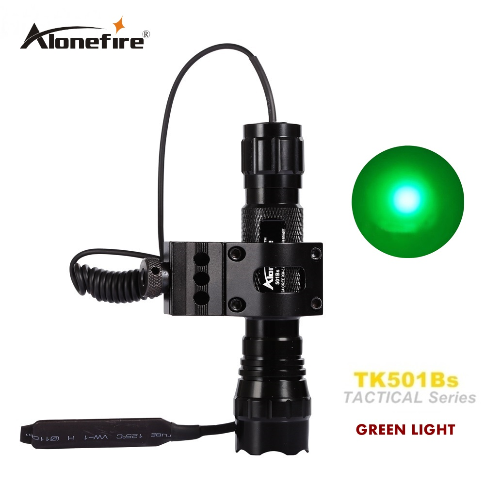 501B led green light Tactical Flashlight Hunting Rifle Torch Shot gun lighting Shot Gun Mount+Tactical mount+Remote switch hot 502b 900lm q5 cree red light led tactical flashlight torch 18650 remote switch rifle mount gun