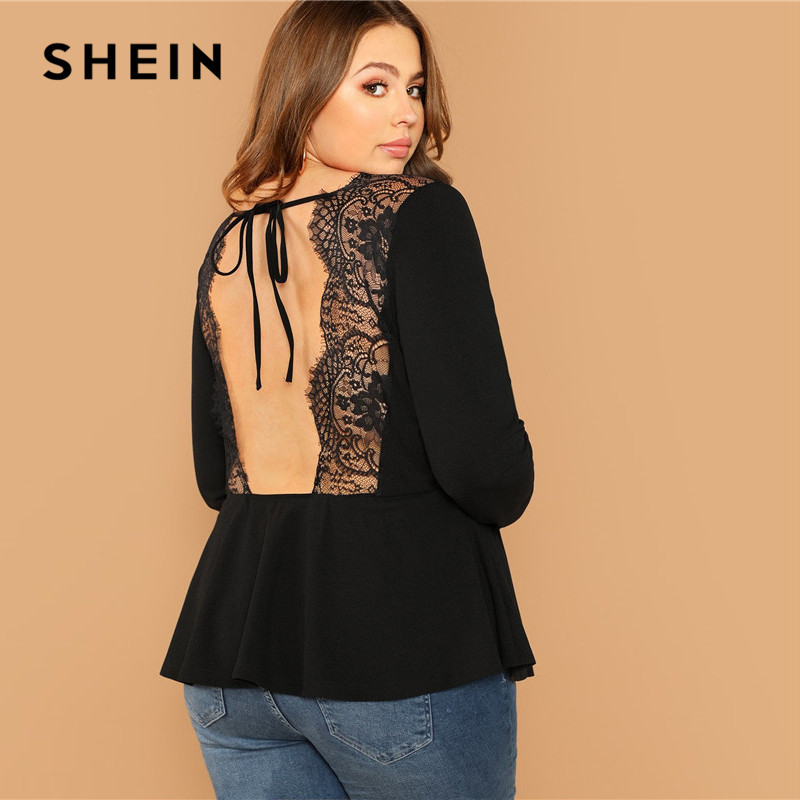 cfbeef06b7 Detail Feedback Questions about SHEIN Plus Size Sexy Backless Lace Trim  Tied Collar Back Black Women Blouse 2019 High Street Long Sleeve Stretchy  Top Blouse ...