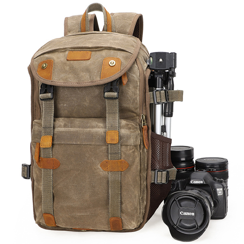 2019 New Waterproof Batik Canvas & Leather Retro Camera Backpack Casual Traval Shoulers Bags for Canon Nikon Sony Tripod DSLR2019 New Waterproof Batik Canvas & Leather Retro Camera Backpack Casual Traval Shoulers Bags for Canon Nikon Sony Tripod DSLR