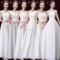 Long Bridesmaid Dresses With Lace Embroidery 2017 Light Champagne Chiffon Wedding Guest Dress Lace Up