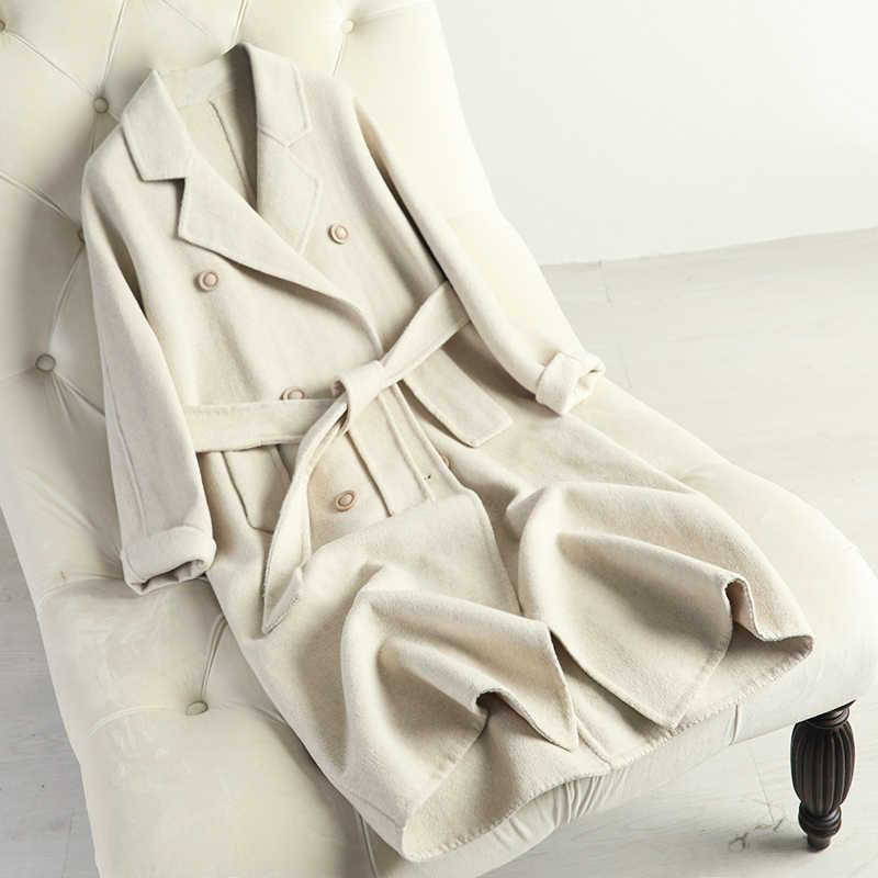 100% kaschmir mantel doppelseitige wolle mantel mid-lange anti-saison anzug dünne kragen Koreanische version beige mäntel