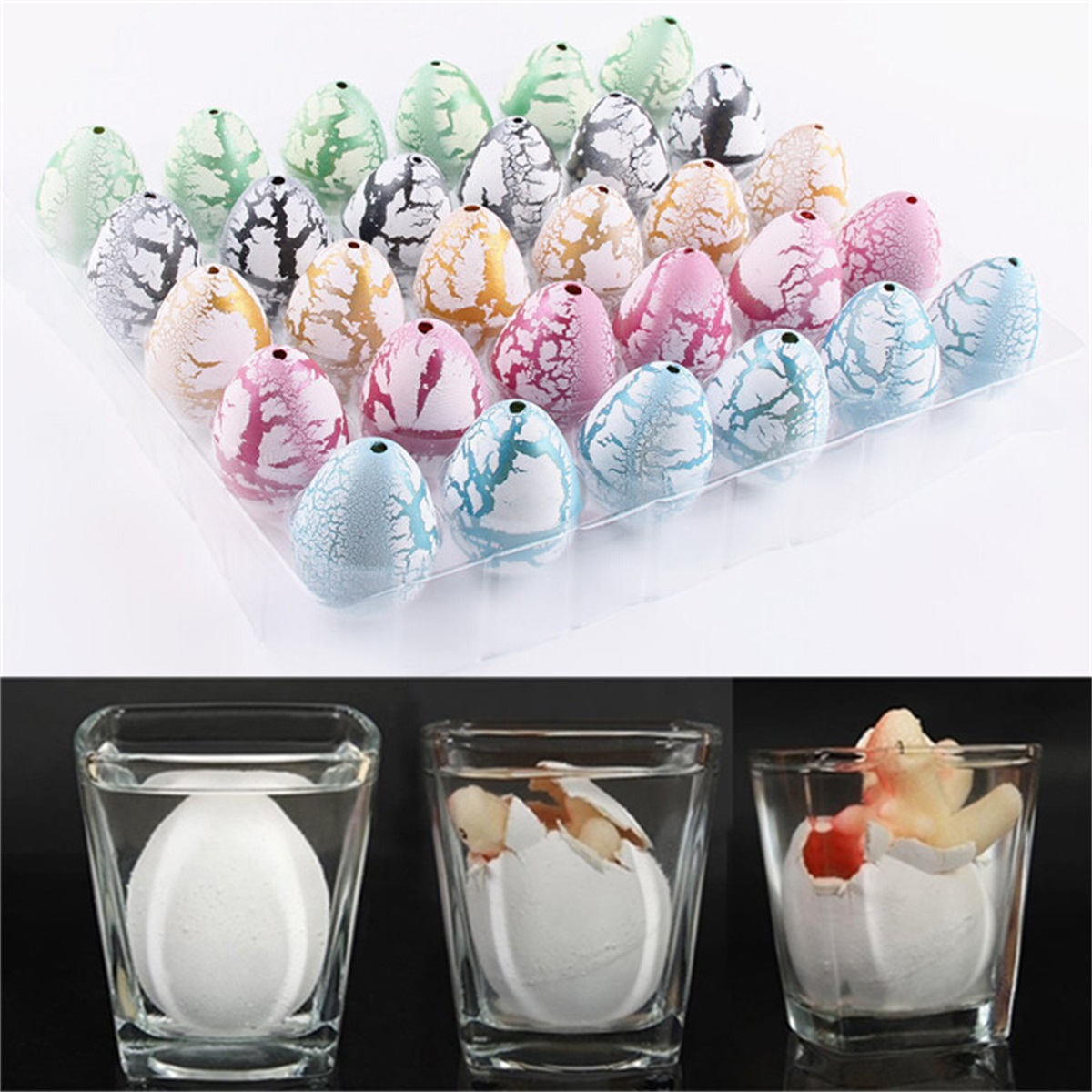 30PCS Funny Magic Growing Hatching Dinosaur Eggs Add Water Child Toy Gifts Cute