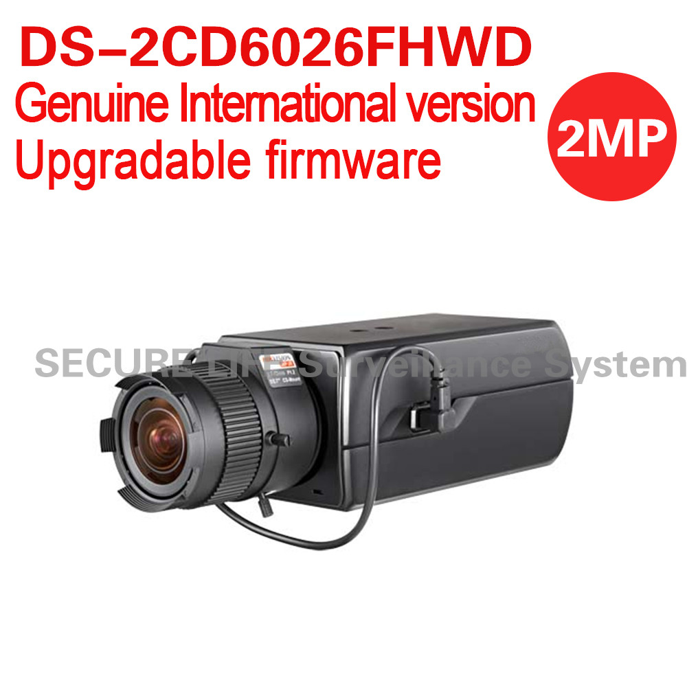 Free shipping English version DS-2CD6026FHWD 2MP Ultra Low-light Box CCTV Camera POE, smart face detection, two-way audio hikvision ds 2df8223i ael english version 2mp ultra low light smart ptz camera ultra low illumination dark fighter