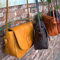 AETOO Genuine Leather retro female bag square bag vegetable tanned skin small bag tree cream leather art shoulder bag