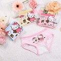 4 pçs/lote underwear rendas de algodão das crianças hello kitty cat dog menina cuecas cuecas do bebê triângulo shorts calças frete grátis