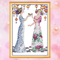 Joy Sunday embroidery crossstitch kit Manor PARTY girl woman DMC14CT11CT cottonfabric deco painting gift art factory wholesale