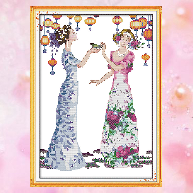 Joy Sunday embroidery crossstitch kit Manor PARTY girl woman DMC14CT11CT cottonfabric deco painting gift art factory wholesale image