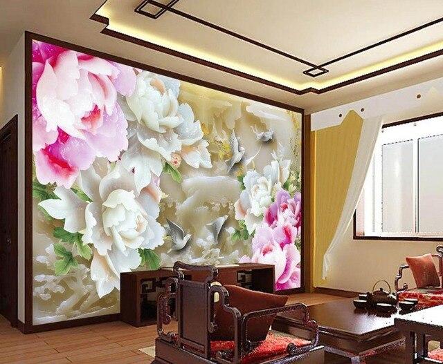 Décoration murale 3d papier peint fleur Jade pivoine 3d peintures ...