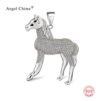 Vivid Crystal Horse Pendant 925 Sterling Silver Charm Jewelry Finding For Women Unisex DIY Jewelry Making Pendant Necklace