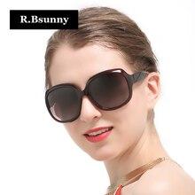 R. Bsunny Mujeres Diseño de Marca Marco Negro gafas de Sol Polarizadas gafas de Sol Retro Redondo Grande Señoras De Lujo de Conducción gafas de sol mujer