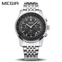 MEGIR Original Men Watch Stainless Steel Quartz Watches Men Top Brand Luxury Clock Men Relogio Masculino