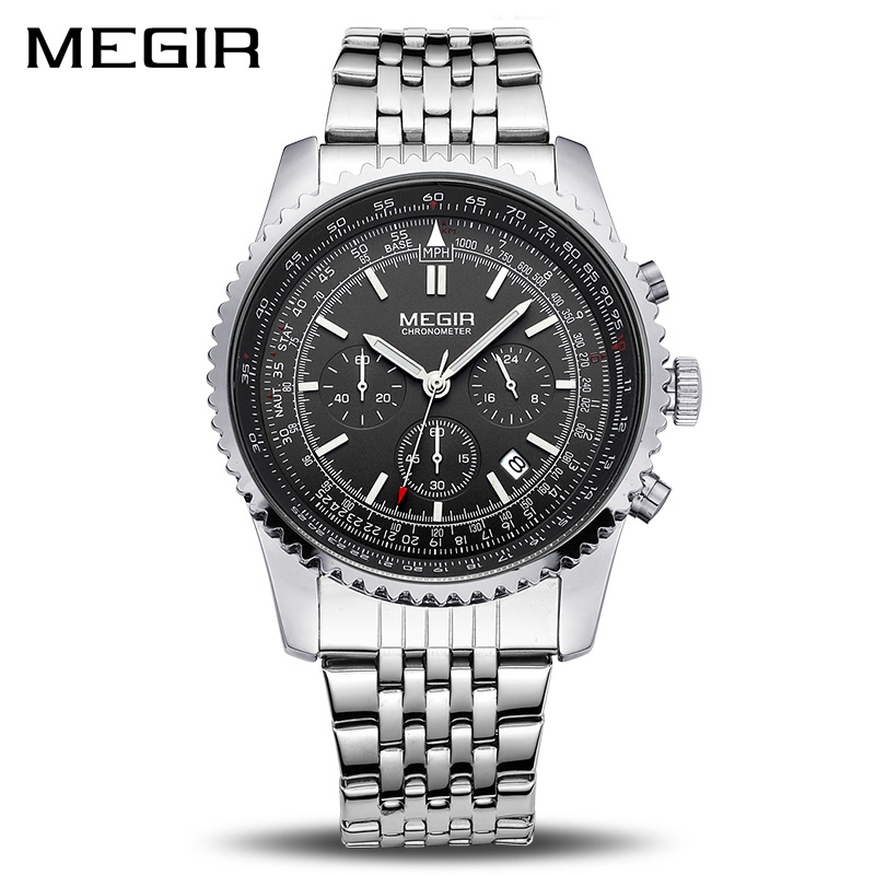 MEGIR Original Men Watch Stainless Steel Quartz Watches Men Top Brand Luxury Clock Men Relogio Masculino Erkek Kol Saati 2008 megir relogio masculino top brand luxury men watch leather strap chronograph quartz watches clock men erkek kol saati mens 2012