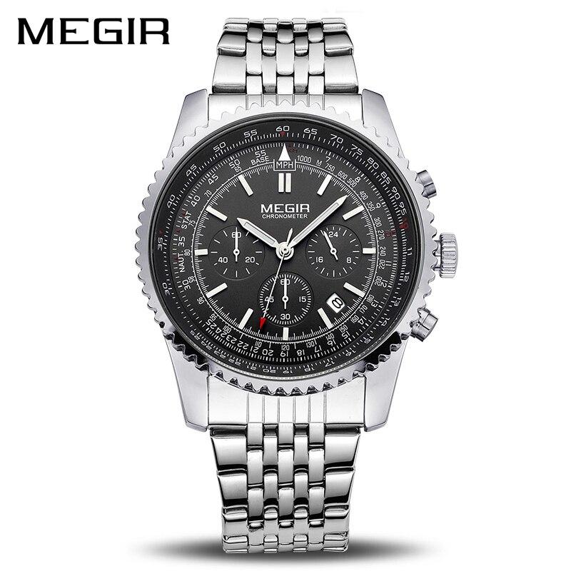 Reloj MEGIR Original reloj de los hombres de acero inoxidable relojes de cuarzo para hombres marca de lujo reloj hombres reloj Masculino Erkek Kol Saati 2008