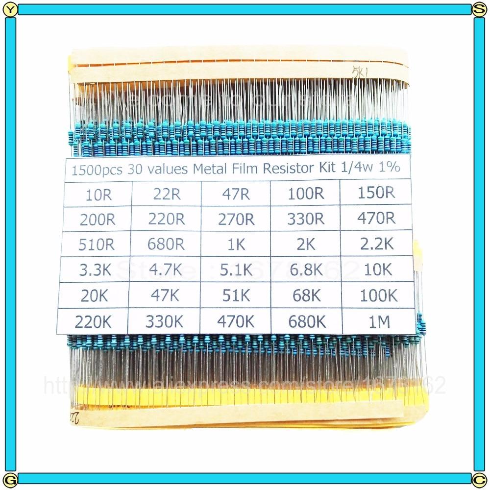 21 Values x 5 pcs 1//4W 1ohm-4M ohm Carbon Film Resistors Assortment Kit Set *US*