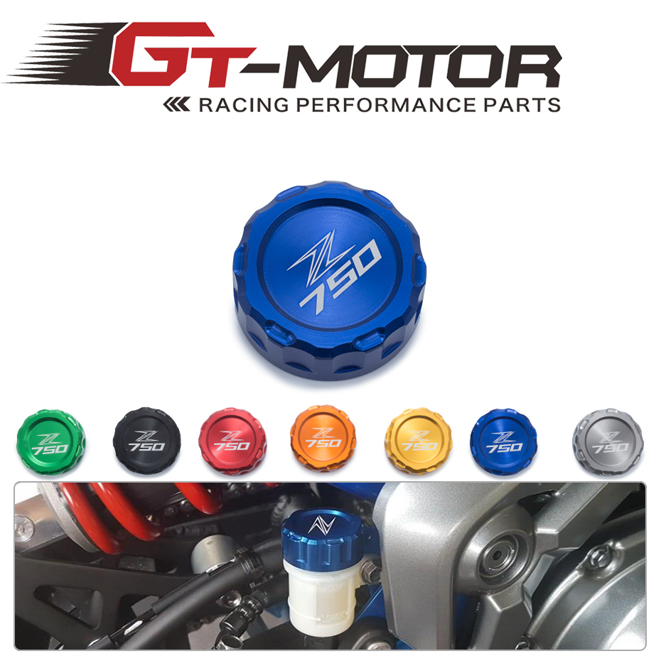 GT Motor - Motorcycle CNC Aluminum Rear Brake Fluid Reservoir Cover Cap For Kawasaki Z750 Z 750 with z750 logo 2010-2014