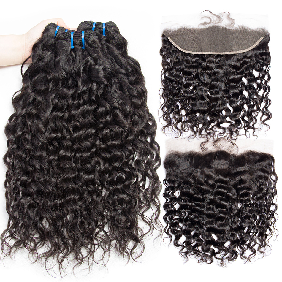 3 Or 4 Human Hair Bundles With Frontal Closure Alibele Peruvian Wet and Wavy Frontal With