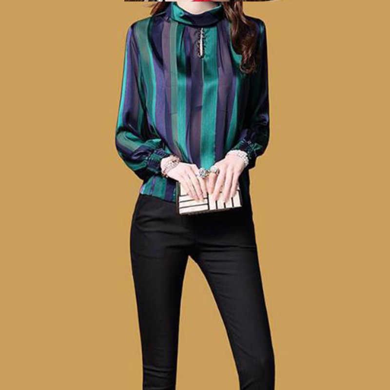 緩い高品質レディーストップスやブラウスプラスサイズストライプ長袖シャツ女性のファッションシルクカジュアル薄型ブラウス女性 lj208