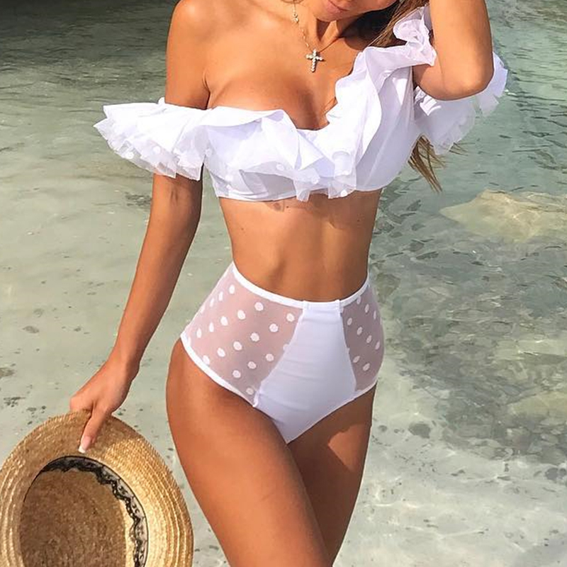 White Mesh Patchwork Swimsuit Women Push Up Bathing Suit New Ruffles One Piece Sexy Swimwear Bodysuit Brazilian Summer Beachwear