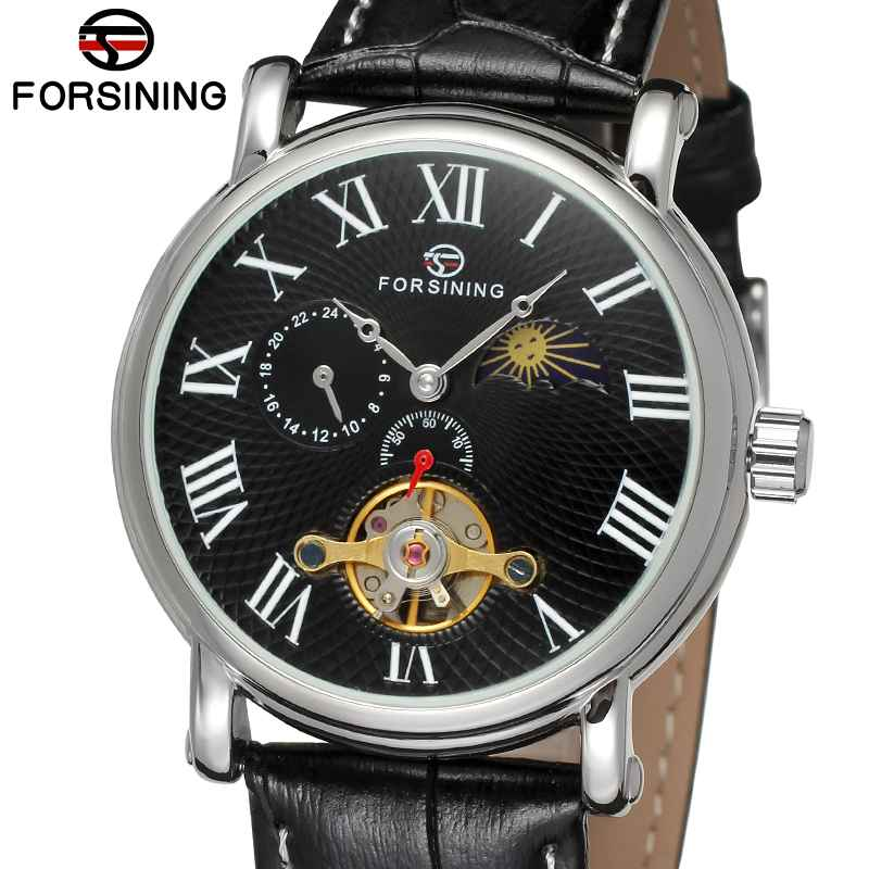 FORSINING Classic Mechanical Watches Men Roman numerals Display Dial Genuine Leather Bands Automatic Watch Business Clock Gift forsining date display automatic mechanical watch men business leather band watches modern gift dress classic analog clock box