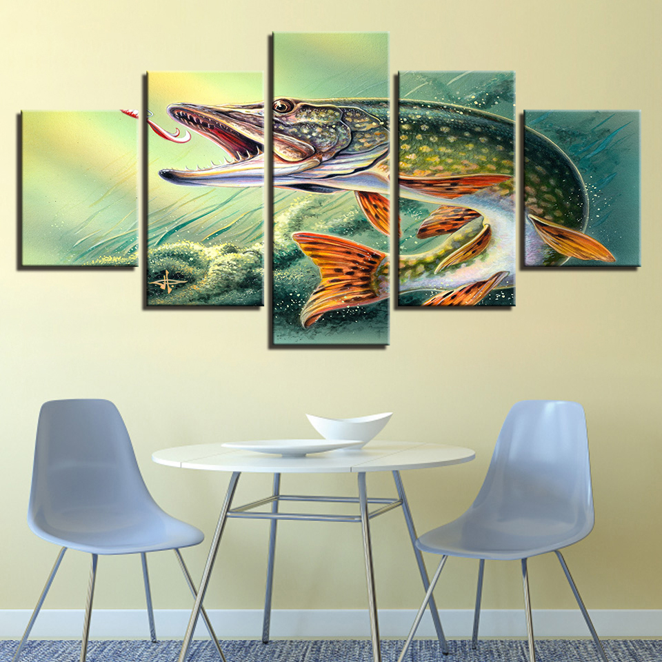 Canvas Art Poster Style Wall 5 Panel Animal Big Fish Abstract Pictures For Living Room Cuadros Modern Decoration Paintings