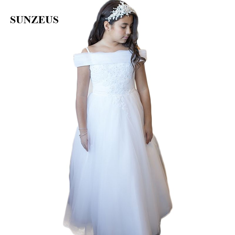 Boat Neck A-Line   Flower     Girl     dresses   for Weddings Pleats Tulle Lace Appliques with Sequins Birthday Party vestido daminha SF39