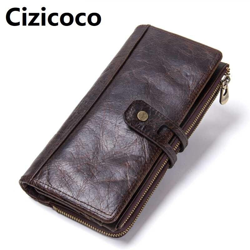 Hommes portefeuille embrayage en cuir véritable marque Rfid portefeuille homme organisateur téléphone portable pochette longue porte-monnaie