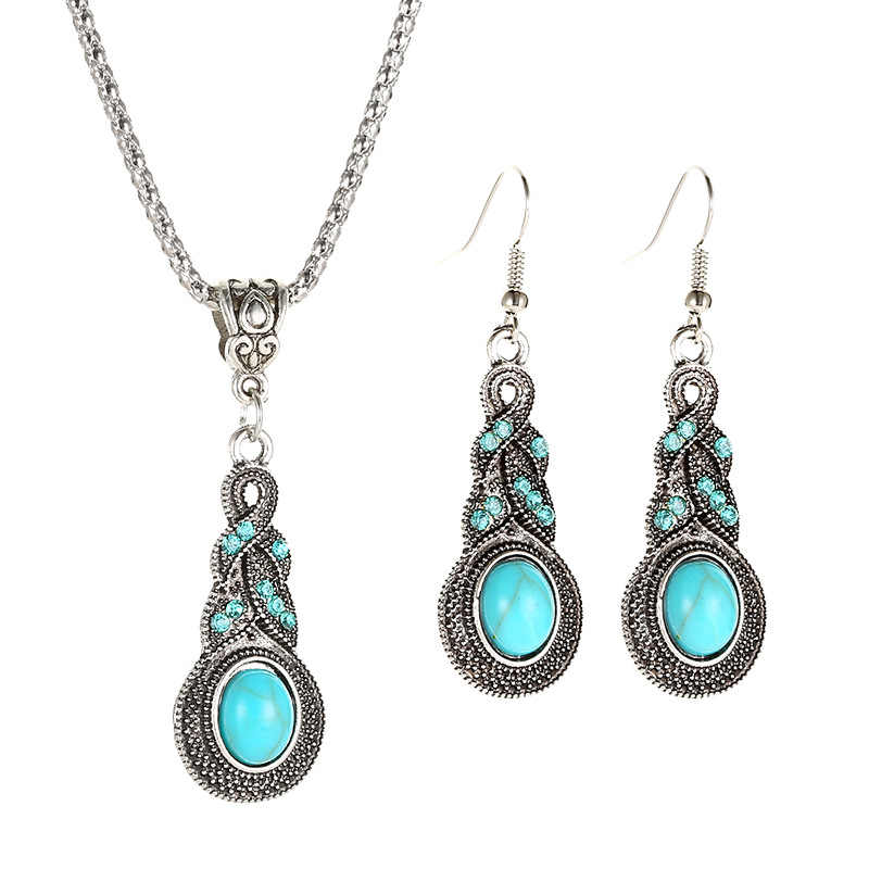 Bohemia Women Jewelry Sets Vintage Pattern Blue Crystal Stone Chain Pendant Necklace Earrings Set Gifts To Women bijoux femme