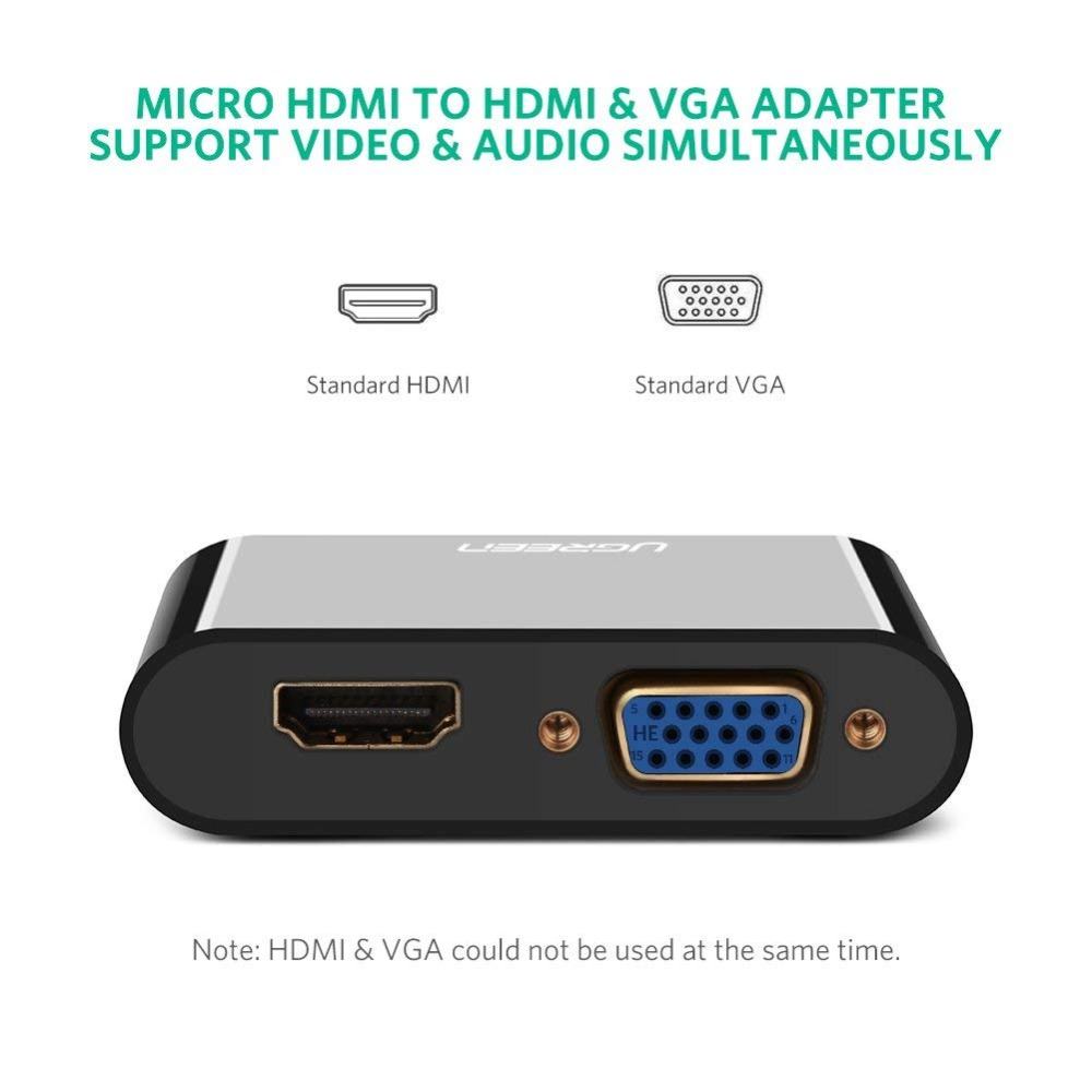 Ugreen Micro HDMI to HDMI VGA Adapter with 3.5mm Audio Micro USB Port for Tablet Camera Micro HDMI To HDMI VGA Cable Converter HTB1UEVsX.jrK1RkHFNRq6ySvpXaI