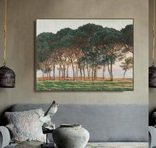 Under the Pines, Evening by Monet Posters and Print Canvas Painting Calligraphy Wall Pictures for Living Room Bedroom Home Decor цена