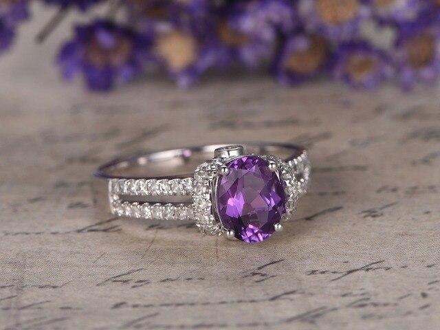 MYRAY Naturel Violet Amethyst de Pierre Gemme Pierre Diamant Bague de  Fiançailles De Mariage De Cru 08c5bcedf411