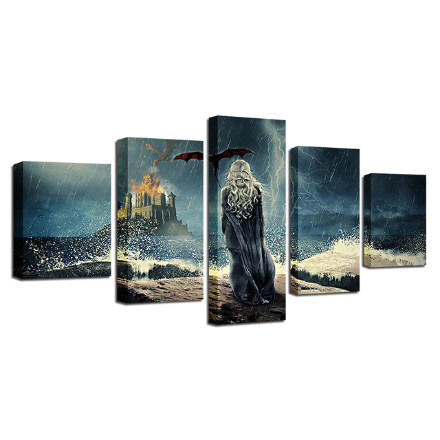 Modern Canvas Paintings Modular Wall Art Framework 5 Pieces Game Of Thrones Posters Living Room Home Decor HD Prints TV Pictures 4
