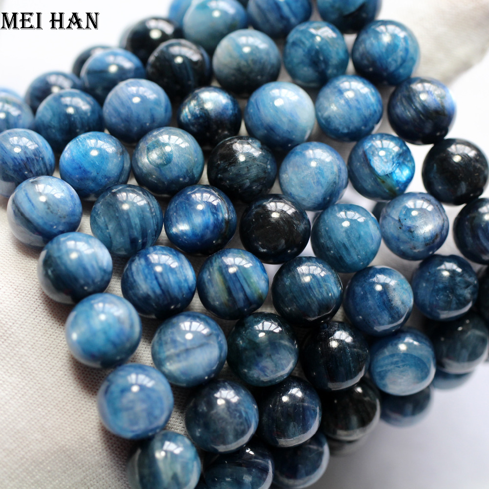 Meihan 11.5 12.5mm (17beads/set/51g) natural Brazil kyanite smooth round beads stone bracelet or jewelry DIY making design-in Beads from Jewelry & Accessories