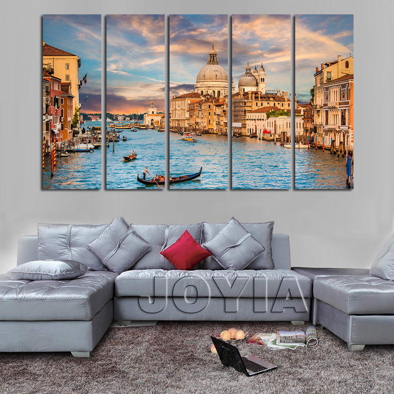 Large Wall Pictures For Living Room: 5 Piece Canvas Art Landscape Venice Italy Painting On